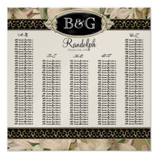 Reception Table Seating Chart Baroque Vintage Lily Poster