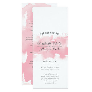 RECEPTION WEDDING MENU watercolor blush pink grey Card