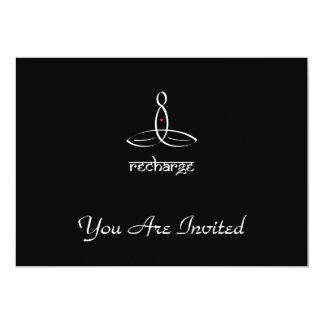 Recharge - White Sanskrit style 13 Cm X 18 Cm Invitation Card