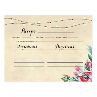 Recipe Bridal Party Cards Red Floral Bachelorette