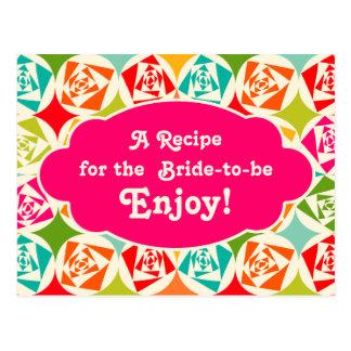 Recipe Card Bridal Shower   Pop Art Rose Post Card