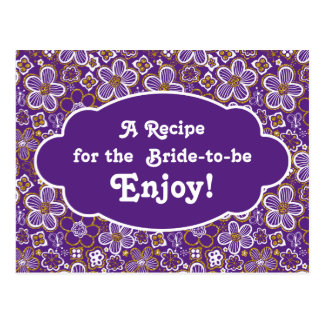 Recipe Card Bridal Shower | Purple Gold Floral