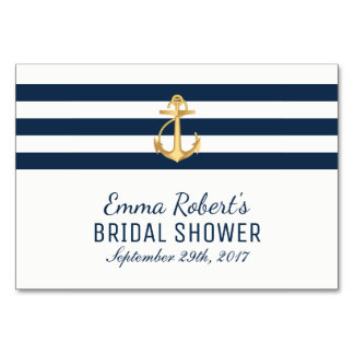 Recipe Card   Gold Anchor Nautical Bridal Shower