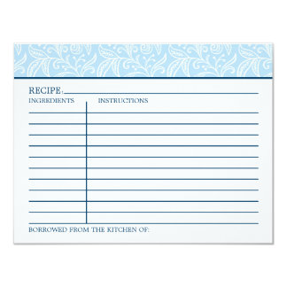 Recipe Card | Something Borrowed Something Blue 11 Cm X 14 Cm Invitation Card