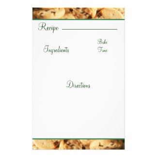 Recipe Chocolate Chip Cookie Card Stationary Custom Stationery