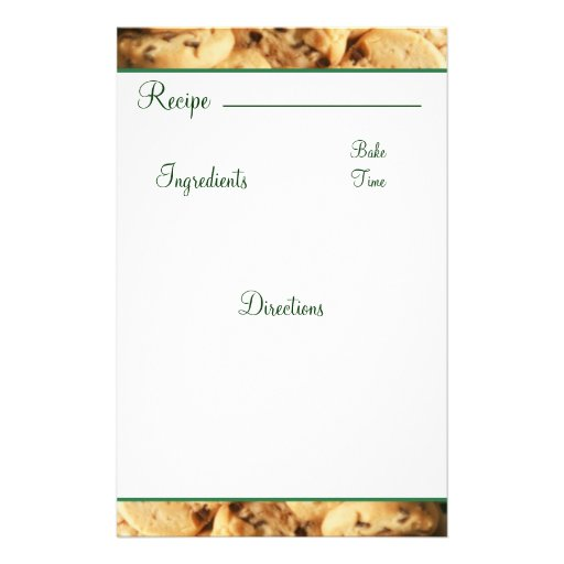 Recipe Chocolate Chip Cookie Card Stationary Customized Stationery