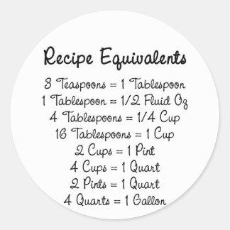 Recipe Equivalents Kitchen Helper Round Sticker