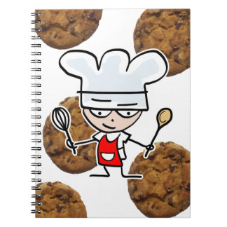 Recipe note book with funny cartoon and cookies