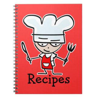 Recipe notebook with cute cartoon chef cook