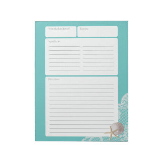 Recipe Page Aqua Sand Dollar and Lace Notepad