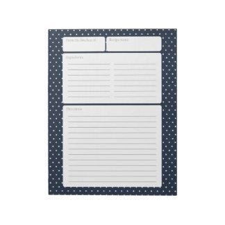 Recipe Page Navy Blue and Polka Dots Notepad