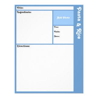 Recipe Pages (Light Blue) 21.5 Cm X 28 Cm Flyer