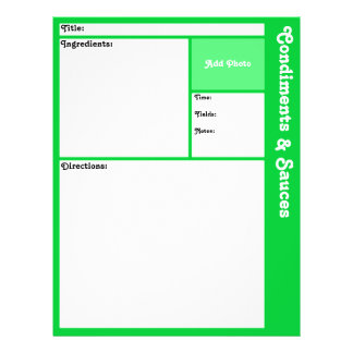 Recipe Pages (Light Green) 21.5 Cm X 28 Cm Flyer