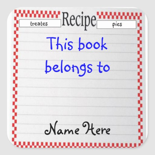 Recipe This Book Belongs To, Bookplate Sticker