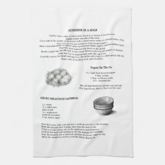 Recipes with Pencil Illustrations; Oatmeal, Eggs Tea Towel