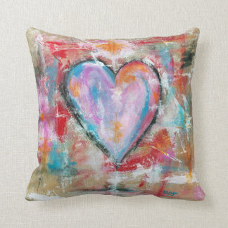 Reckless Heart Abstract Art Painting Pink Red Blue Cushion