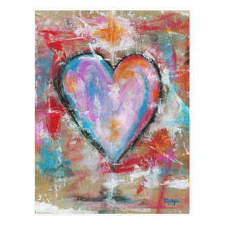 Reckless Heart Abstract Art Painting Pink Red Blue Postcard