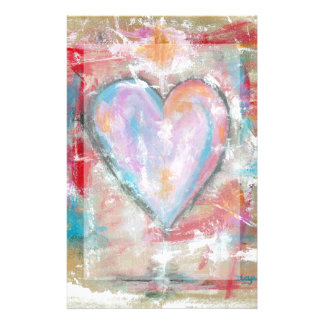 Reckless Heart Abstract Art Painting Pink Red Blue Stationery Paper