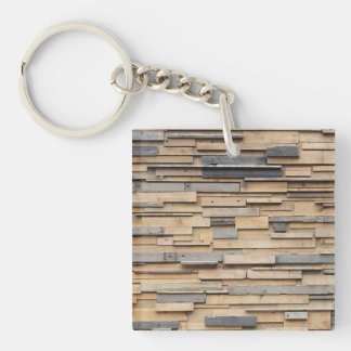 Reclaimed Wood, Sustainable Material Double-Sided Square Acrylic Key Ring