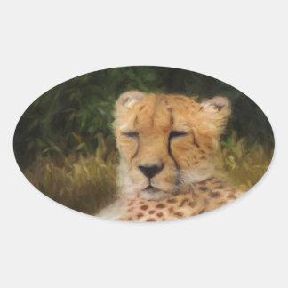 Reclining Cheetah at Fossil Rim Wildlife Center Oval Sticker