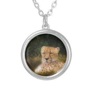 Reclining Cheetah at Fossil Rim Wildlife Center Silver Plated Necklace