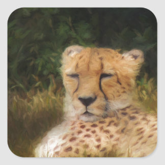 Reclining Cheetah at Fossil Rim Wildlife Center Square Sticker