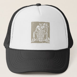 Reclining Mayan Woodblock Trucker Hat