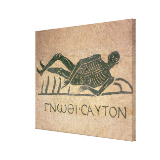 Reclining skeleton with the caption 'Know Gallery Wrapped Canvas