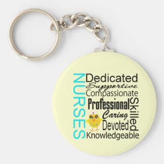 Recognize a Nurse:  Nurses Recognition Collage Basic Round Button Key Ring