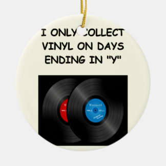 record collecting christmas tree ornament
