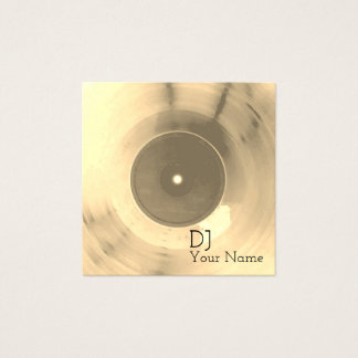 Record plate gold shine label look square business card