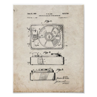 Record Player Patent - Old Look Poster