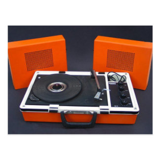 record player postcard