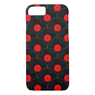 Record Print in Black and Red iPhone 7 Case