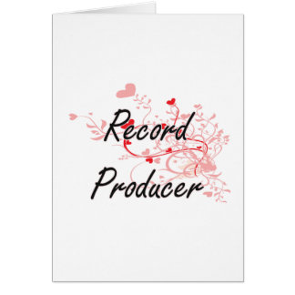 Record Producer Artistic Job Design with Hearts Greeting Card