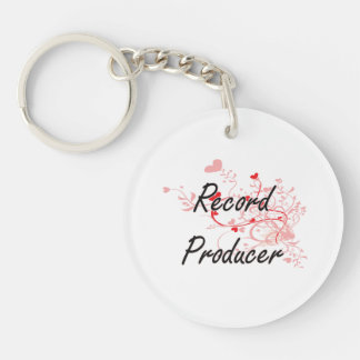 Record Producer Artistic Job Design with Hearts Single-Sided Round Acrylic Key Ring