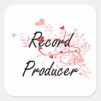 Record Producer Artistic Job Design with Hearts Square Sticker
