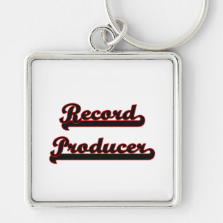 Record Producer Classic Job Design Silver-Colored Square Key Ring
