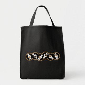 Record Row Brown - Orange Grocery Tote Bag