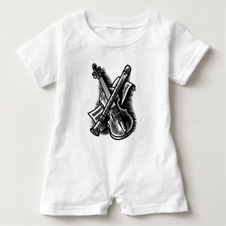 recorder and violin baby bodysuit