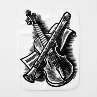 recorder and violin burp cloth