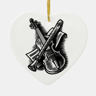recorder and violin ceramic ornament