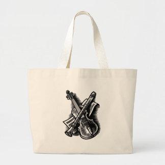 recorder and violin large tote bag