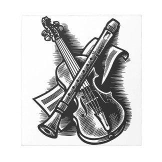 recorder and violin notepad