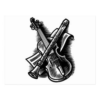 recorder and violin postcard