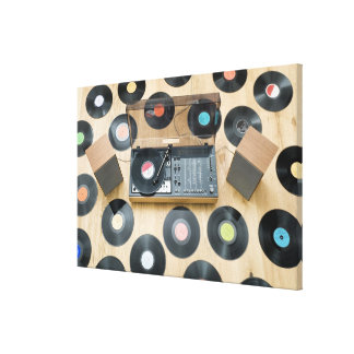 Records on Floor 2 Stretched Canvas Print