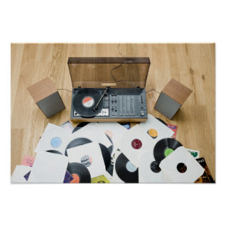 Records on Floor Poster