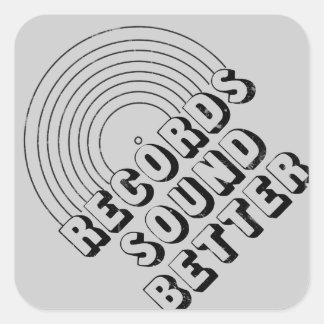 Records Sound Better Square Stickers