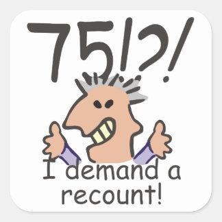 Recount 75th Birthday Square Sticker