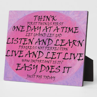Recovery Slogans Pink Purple Plaque